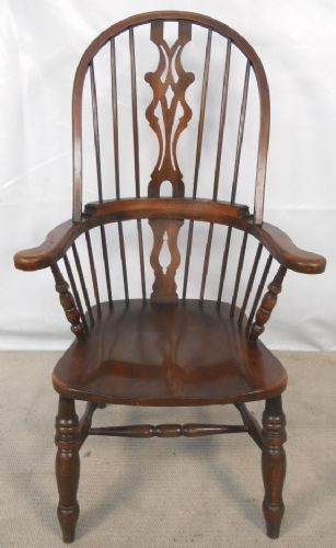 Antique Style Elm Windsor Kitchen Armchair by Reprodux